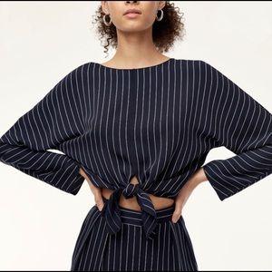 Aritzia Babaton Abasi Tie Front Striped Blouse